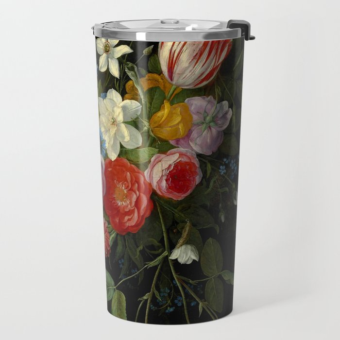 """Jan van Kessel de Oude """"Tulips, peonies, chicory, carnations, cherry blossom and other flowers"""" Travel Mug"""
