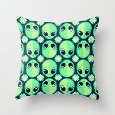 Sad Alien and Daisy Nineties Grunge Pattern Throw Pillow