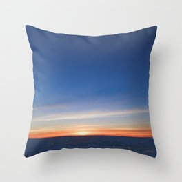 Blue sky in  sunset light on the horizon over  the glittering  icy snowy white Baltic sea desert Throw Pillow