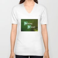 baking V-neck T-shirts featuring Baking Bread by ViMas