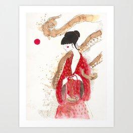 Geisha and tentacles (involvement) Art Print