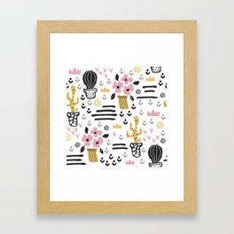 Cute flowers and cactus Framed Art Print