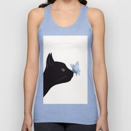 Cat and Butterfly Unisex Tank Top