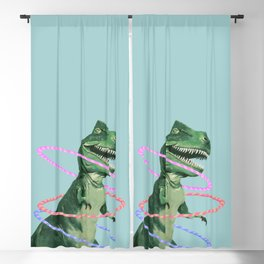 T-Rex the Hula Dancer in Green Blackout Curtain
