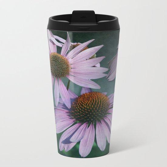 Beautiful summer with pink Echinacea / Daisy flowers Metal Travel Mug
