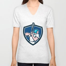 Baseball Player Batting Shield Cartoon Unisex V-Neck