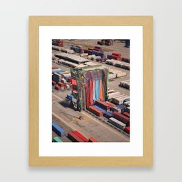 Container Drapes - Glitch in the docks Framed Art Print
