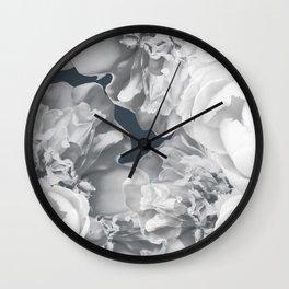 Elegant Peony Bouquet Gray Monochrome #decor #society6 #buyart Wall Clock
