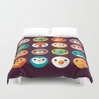eat Duvet Covers featuring SMILEY FACES 1 by Daisy Beatrice