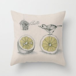 Lemon bird Throw Pillow