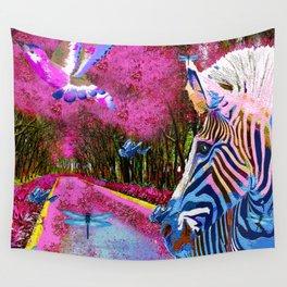 ZEBRA ENCOUNTER GOOD MORNING MY FRIENDS Wall Tapestry