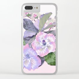 Tropical Botanical Lilac Clear iPhone Case