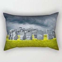 Car Henge in Alliance Nebraska after England's Stonehenge Rectangular Pillow