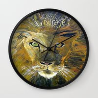 courage Wall Clocks featuring Courage by Anna Hanse