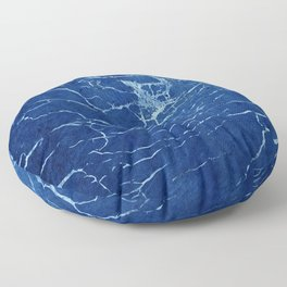 Cracks and Scratches on Midnight Blue Suede Leather Floor Pillow