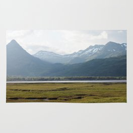 Misty Mountain Sunset Photography Print Rug