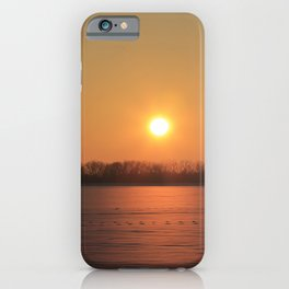 Kansas Sunset with Snow in a field iPhone Case