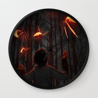 fireflies Wall Clocks featuring Fireflies by Erick Hinojosa