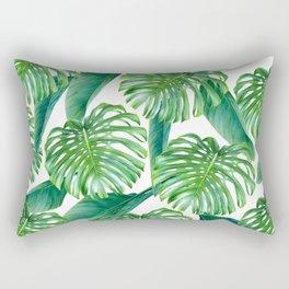 Green tropical leaves V Rectangular Pillow