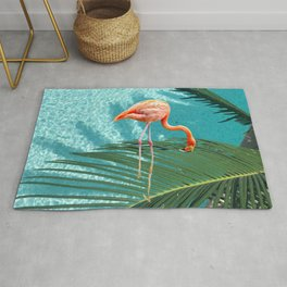 Abstract Flamingo and Palm leaf Rug