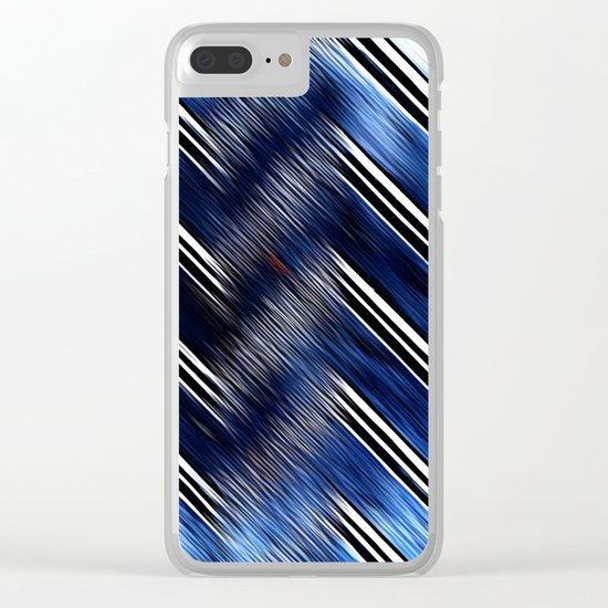 Abstract #Blue #Black #3 #art #society6 Clear iPhone Case