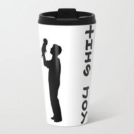 THIS JOY ambigram (turn your head 90 degrees :) Travel Mug