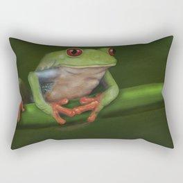 Green Eyed Tree Frog Rectangular Pillow