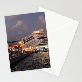 AIDAluna Cruise Ship docking at Willemstad Curacao at Night Stationery Cards