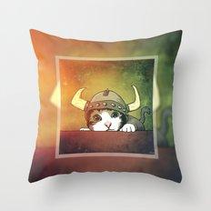 Viking Kitty Throw Pillow