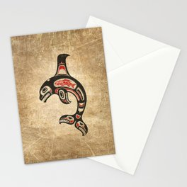 Red and Black Haida Spirit Killer Whale Stationery Cards
