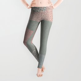 Pastel colored checkered background with paper texture Leggings