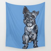 schnauzer Wall Tapestries featuring Rupert the Miniature Schnauzer by Pawblo Picasso
