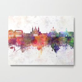 Madrid V2 skyline in watercolor background Metal Print