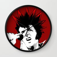 punk rock Wall Clocks featuring punk rock elvis by atelierilluminaire