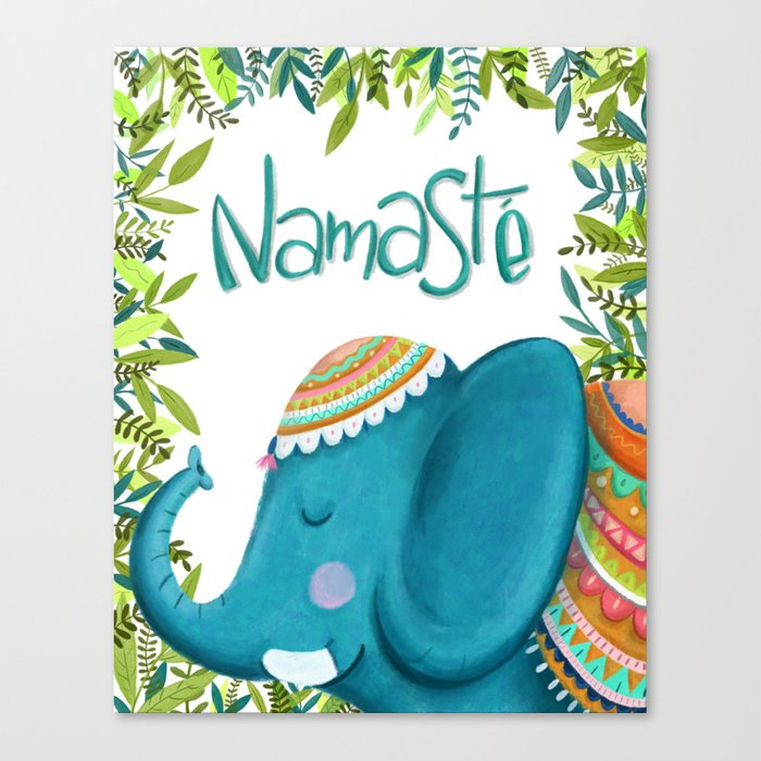 Namastey - Cute Elephant Illustration Leinwanddruck