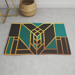 Art Deco Leaving A Puzzle In Turquoise Rug