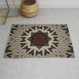 Be Still My Beating Heart // Geometric Abstract Tribal Black Beige Rustic Red Sacred Geometry Patter Rug