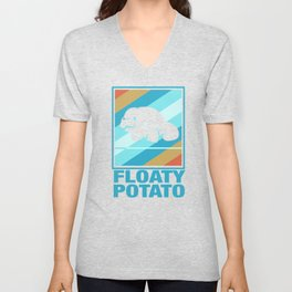 Manatee Retro Vintage Save The Floaty Potatoes design Gift Unisex V-Neck