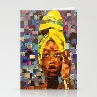erykah badu Stationery Cards featuring Chopped and Glued - Erykah Badu by ByReenaRae