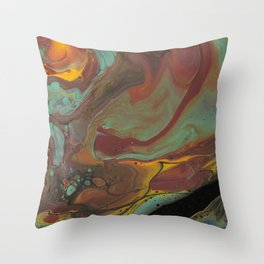 Abstract Art Teal Sienna Yellow Fall colors Throw Pillow