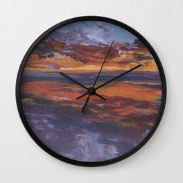 Purple sunset, travel painting Wall Clock