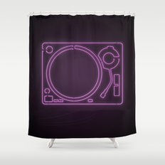 Neon Turntable 1 - 3D Art Shower Curtain