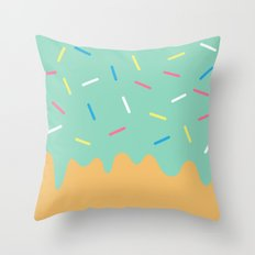 Mint Donut Throw Pillow