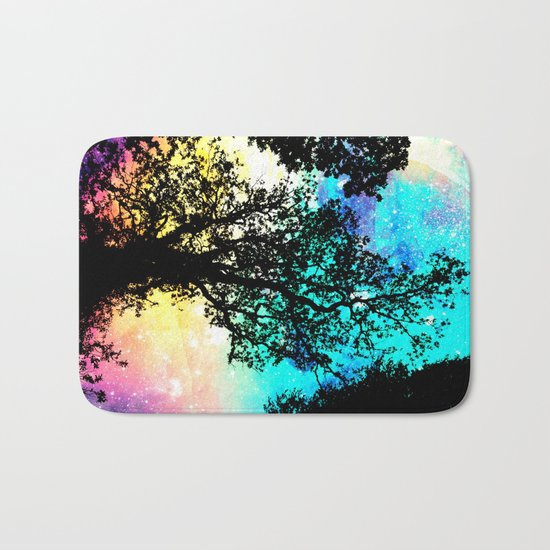Black Trees Colorful Space bright Bath Mat