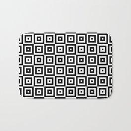 Black & White Geometric Square Pattern Bath Mat