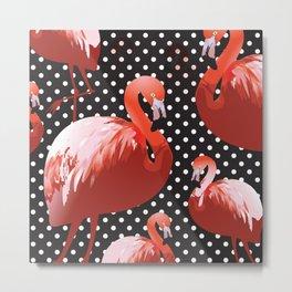 Watercolor Flamingo Pattern 11 Metal Print