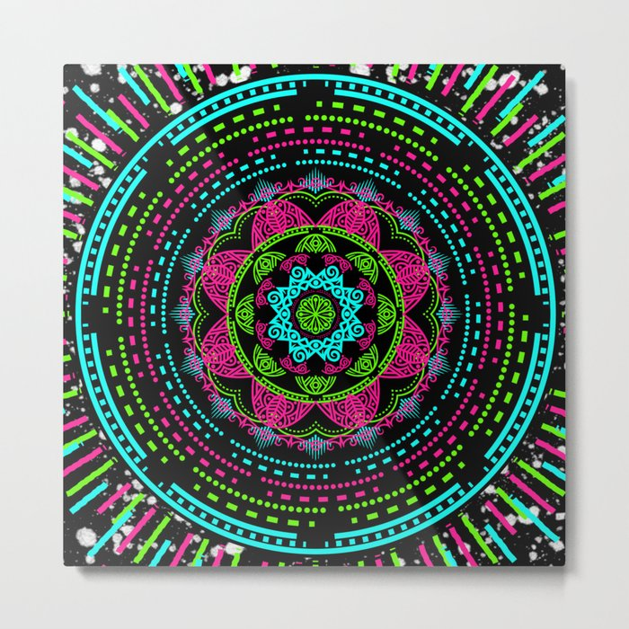 Mandala Energy in Neon Metal Print