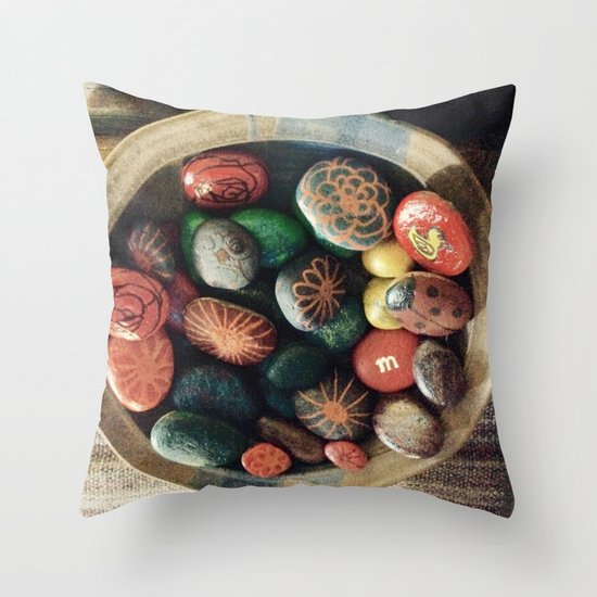Rock art in ceramic bowl Throw Pillow