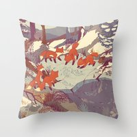 jazzberry blue Throw Pillows featuring Fisher Fox by Teagan White