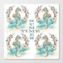 Watercolour Tropical Flowers Wreath Seahorses Summer Time Canvas Print